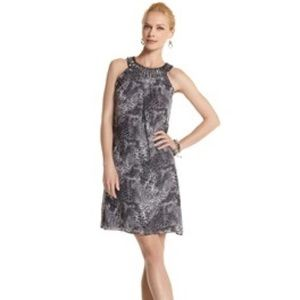 WHBM Snake print jeweled collar dress